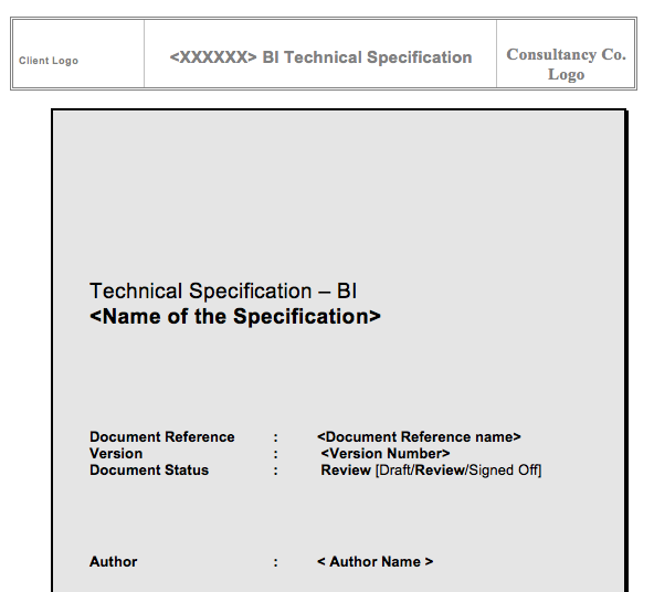BI Technical Specification Template