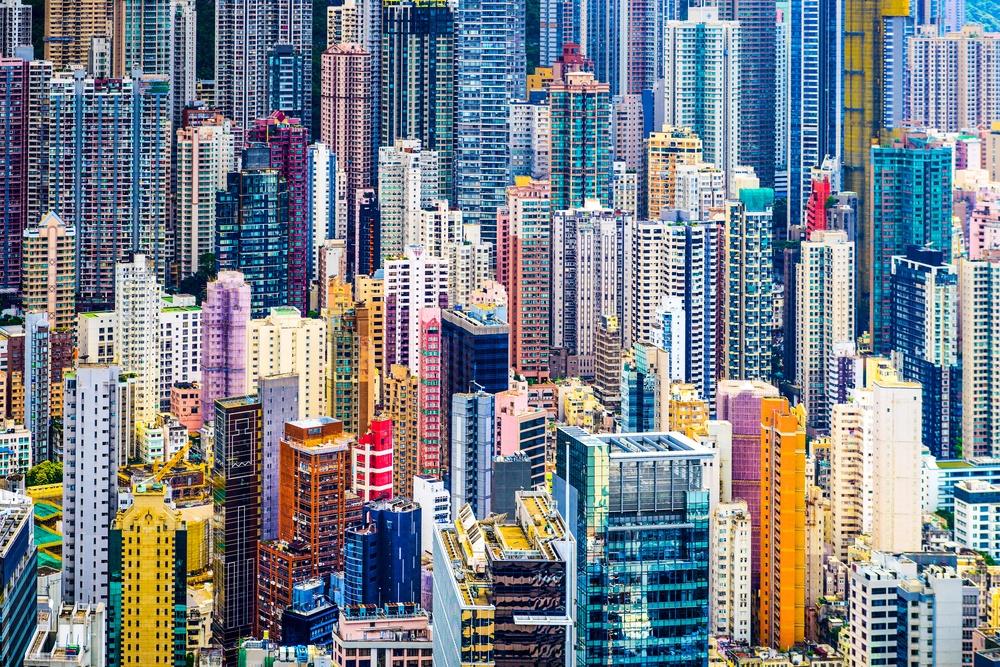 Hong Kong, China dense cityscape of office buildings..jpeg
